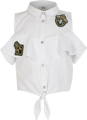 River Island Girls White badge embellished tie shirt