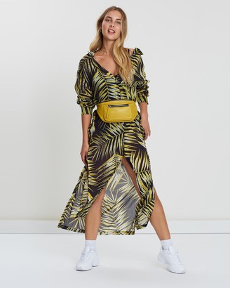 Double Rainbouu Tiger Palm Maxi Shirt Dress