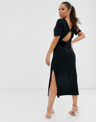 Asos Design DESIGN twist open back t shirt dress-Black