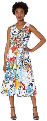 Tahari ASL Petite Multicolor Pebble Crepe Side Tie Dress (Amalfi Tile Print) Women's Dress
