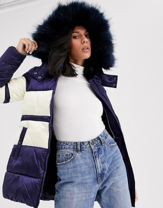 Gianni Feraud color block padded jacket with faux fur hood