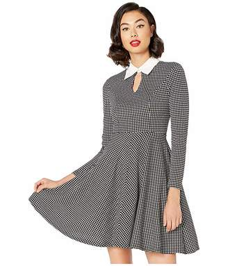 Unique Vintage Long Sleeved Wednesday Flare Dress (Black/White Houndstooth) Women's Dress