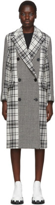 MSGM Black and White Plaid Double-Breasted Coat