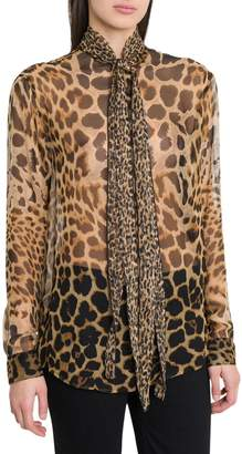 Saint Laurent Bow Tie Blouse In Leopard-print Silk Chiffon