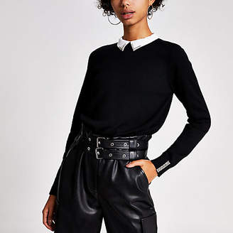 River Island Black long sleeve diamante collar knitted top
