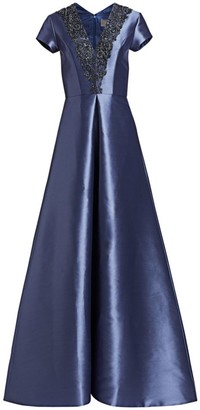 Theia Beaded V-Neck Short-Sleeve Gown