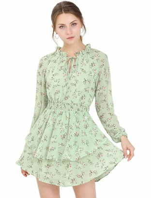 Allegra K Women's Floral Printed Ruffled Tie V Neck Smocked Waist Layered Vintage Chiffon Mini Dress XL Pink