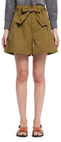 Etoile Isabel Marant Oscar Paperbag-Waist Wide-Leg Twill Shorts, Khaki