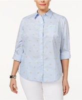 Karen Scott Plus Size Cotton Printed Tab-Sleeve Shirt, Created for Macy's