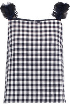 Mother of Pearl Sabina Ruffled Tulle-Trimmed Gingham Cotton Top