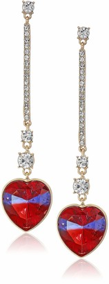 GUESS Linear Earring With Stone Heart Drop