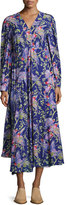 Loewe Printed V-Neck Midi Dress, Black/Purple