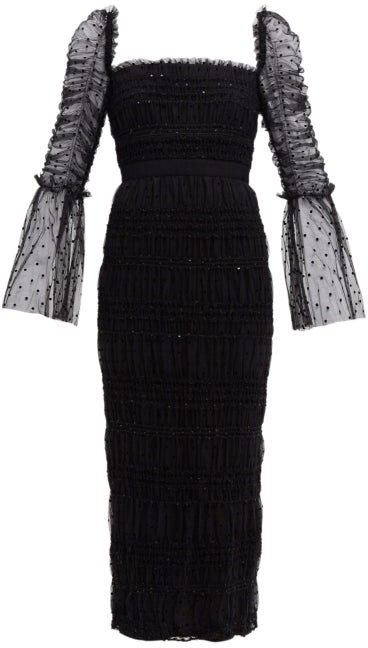 Self-Portrait Square-neck Ruched Polka-dot Tulle Dress - Black