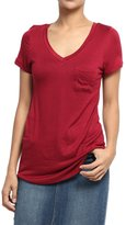 TheMogan Women's Easy Plain Short Sleeve V-Neck Pocket T-Shirts L