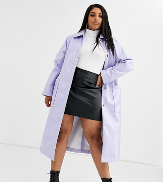 Asos DESIGN Curve patent trench coat in lilac-Purple