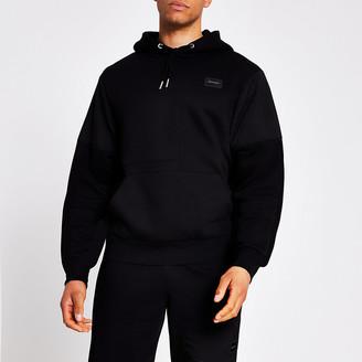 River Island Maison Riviera black nylon block hoodie