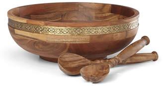 Lenox Global Tapestry Wood Salad Bowl with Servers