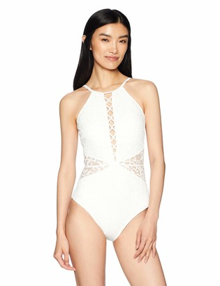 Gottex Women's Solid Lace High Neck One Piece Swimsuit