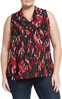 Vince Camuto Ikat-Print Sleeveless Blouse, Rich Black, Plus Size