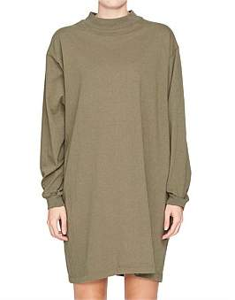 Bassike Rib Long Sleeve T-Shirt Slub Dress