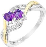 Argentium Silver & Yellow Gold Amethyst & Diamond Heart Ring
