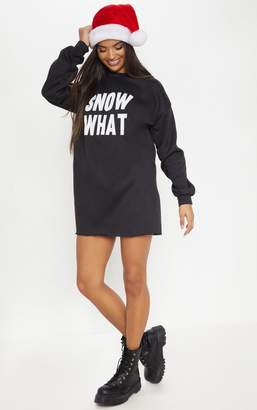 PrettyLittleThing Snow What Black Christmas Jumper Dress