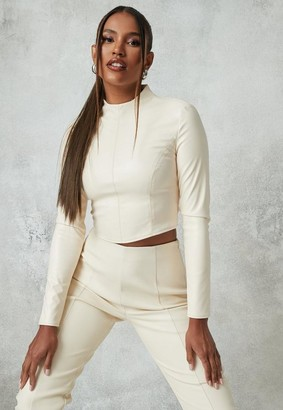 Missguided Ivory Co Ord Faux Leather High Neck Crop Top