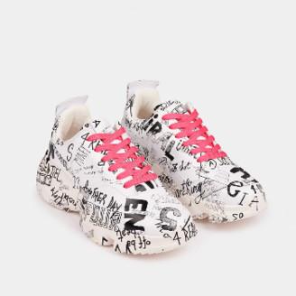 Essentiel Off White Graffiti Print Sneakers - 37