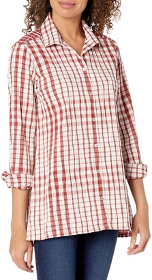 Foxcroft Women's Santino Stretch Crinkle in Exaggerated Glenplaid Tunic