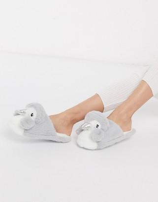 New Look penguin slippers in grey