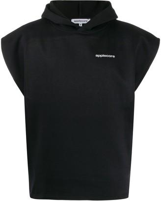 Applecore logo printed sleeveless hoodie