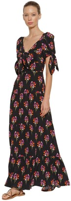 Borgo de Nor Ophelia Bouquet Print Silk Long Dress