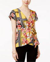 Lily Black Juniors' Printed Wrap-Front Kimono Top, Created for Macy's