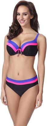 Merry Style Women's Bikini Set P62378TSG (Black/Pink/Cornflowers EU(Cup 75 E/Bottom 38)=UK(34E / 10))