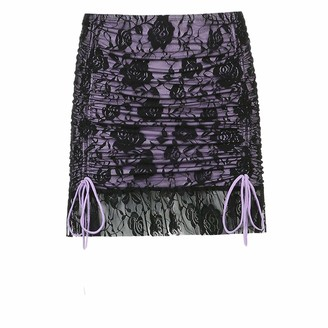 Skirts Flower Mesh Goth Y2K Womens Double Layer Lace Up Egirl Mini Dark Academia Aesthetic Vintage 90S Streetwear-Purple-S