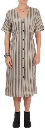 RVCA Striped Midi Dress