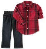 Kids Headquarters Little Boys Two-Piece Tartan Top and Pants Set