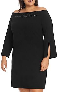 Vince Camuto Plus Embellished Off-the-Shoulder Dress