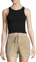 Rag & Bone Suede Lace-Up Shorts, Stone