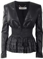 Elisabetta Franchi Women's Black Leather Outerwear Jacket.