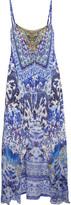 Camilla Asymmetric Embellished Printed Silk Dress - Light blue