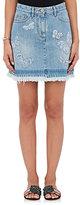 Valentino Women's Butterfly-Embroidered Denim Miniskirt-LIGHT BLUE