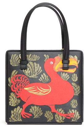 Loewe Postal Small Dodo-print Leather Bag - Womens - Black Multi