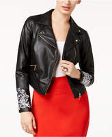 Thalia Sodi Embroidered Faux-Leather Moto Jacket, Created for Macy's