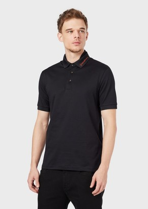 Giorgio Armani Cotton Pique Polo Shirt With An Embroidered Signature On The Collar