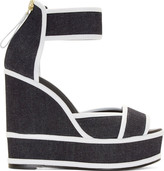 Pierre Hardy Navy Denim Wedge Sandals