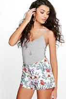 Boohoo Salena Tropical Floral Woven Shorts