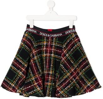 Dolce & Gabbana Kids Tartan Boucle Skirt