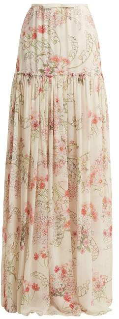 Giambattista Valli Lily Of The Valley Print Silk Georgette Skirt - Womens - White Print