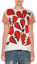 Stella McCartney Broken Heart Crewneck Tee, Pure White/Multi